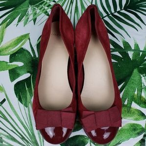 Cole Haan Wedges suede captoe burgundy 7.5B